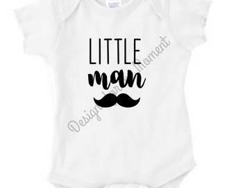 Little Man - Mustache - Father's Day - Baby Shower - Birthday - T-shirt - Bodysuit