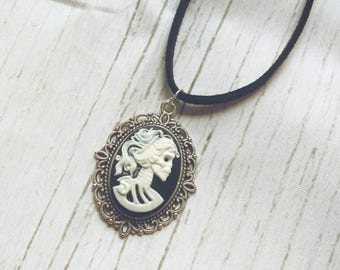 Lady Death Cameo Suede Choker - goth Choker,  grunge Choker,  Halloween necklace, skeleton cameo, made in Canada, skull lady, cameo necklace