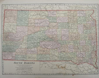 1914- South Dakota Antique Map- Lovely 103 year old, vintage map of South Dakota- Home Décor