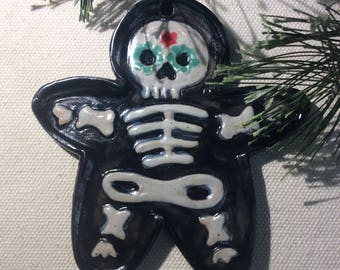 Gingerbread skeleton handmade ornament