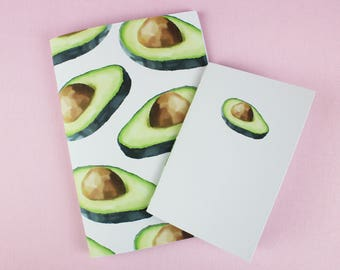 Avocado Notebook / Cute Blank Notebook / Cute Sketchbook / A5 notebook / A6 notebook / Fruit Notebook / Shopping List / Small Notebook.
