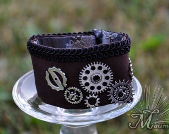 Brow cuff bracelet with gears silver color Goth/SteamPunk/Punk/Grunge