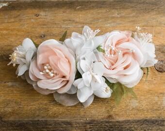 peach headband, off white beautiful, fabric flowers, headband, corsage, hand made, Prom, wedding, Hair, evening, satin luxury, haute couture