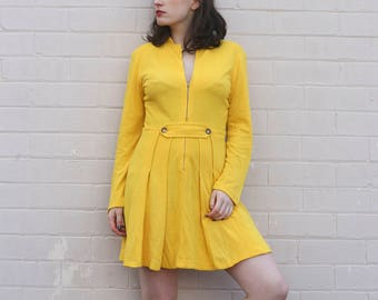 70s Yellow Zip Up Long Sleeve Pleated Dress