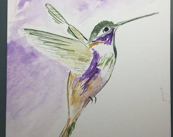 Hummingbird ORIGINAL Watercolor Painting, Colorful Wall Art, Birdlover Art, Bird Watercolor Painting, Purple Bird Art