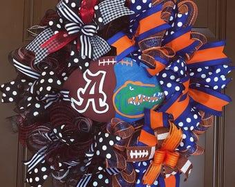 House divided wreath. Football wreath. Custom wreath. Fall wreath. Wreath for front door. Game day decor. Football season.