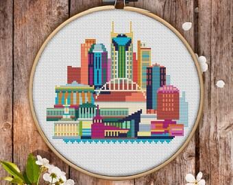 Nashville Cross Stitch Pattern for Instant Download - 103| Easy Cross Stitch| Counted Cross Stitch|Embroidery Design| City Cross Stitch