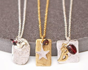 Personalised January Birthstone Pendant with Gemstones and Initials - Garnet - Birthday - Gift for her