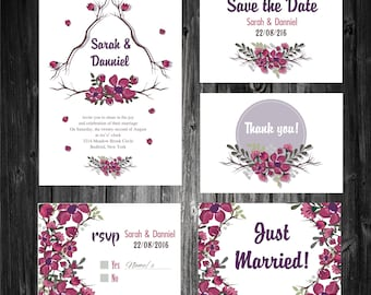 Special Velvet feel Wedding Invitation card, RSVP card, Thank You Card & Save the date card