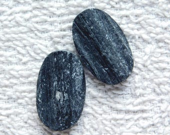 Pair ! Natural Black tourmaline Druzy Loose Gemstone, Gorgeous black tourmaline Druzy Cabochons Excellent Gemstone 54.80cts, (26x16x5)mm.