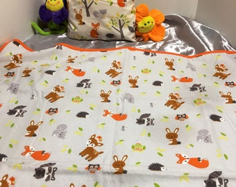 Baby animal receiving blanket and matching pillow