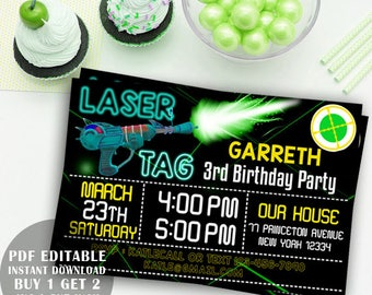 Laser Tag Invitation,  Laser Lights, Laser Tag Birthday Party Invite, Laser Tag You've BeenTargete Birthday invite, pdf editable invitation