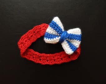 Handmade, crochet, 4th of July headband, red with white and blue bow, preemie-24 month sizes, made to order, fourth of July