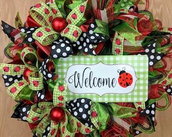 Everyday Wreath, Ladybug wreath, Welcome Wreath, Spring wreath, Summer wreath, Polka Dot Wreath, Ladybug Door Hanger, Ladybug Decor