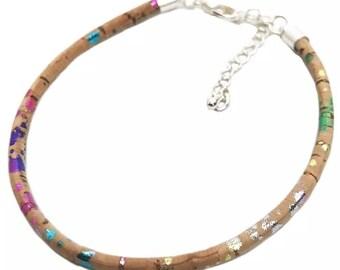 Multicoloured Cork Bracelet With Adjustable Chain
