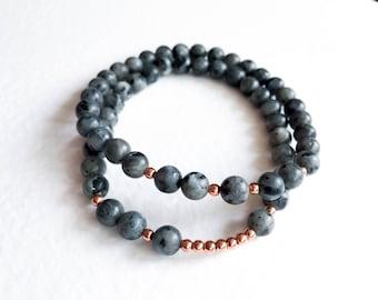 Black Labradorite Bracelet Beaded Bracelet Gemstone Bracelet Rose Gold Bracelet Labradorite Jewellery