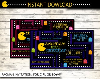 Pac-man,pacman,pacman invitation,Pac-Man party,pac-man invitation,arcade game party,game birthday,printable invitation,pacman arcade party