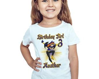 Batgirl Birthday T-Shirt Custom Name Age Super Hero Girls Birthday Personalized Shirt