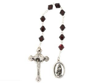 St. Peregrine Chaplet Garnet Red Swarovski Crystal Elements - January (Patron Saint of Cancer Patients)