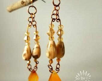 Elegant Genuine Semiprecious Stone Earings