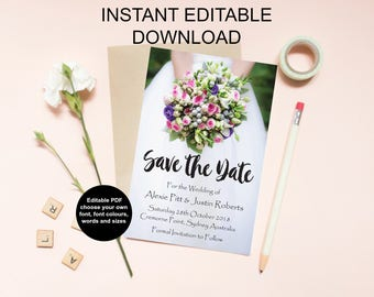 Save the date Instant download, editable PDF invitations, wedding stationery, save the date printable, digital invitations, DIY wedding
