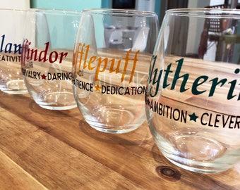 Hogwarts House Wine Glass   Harry Potter Wine Glass   Harry Potter   Stemless Wine Glass   Geek Wine Glass   Nerd Wine Glass