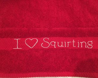 "Vag Rag ""I Love Squirting"" Hand Towel Size Red Color Towel Clean Up After Sex Eco Friendly Textured Towel 16"" x 30"" Vagina Female Cum Rag"