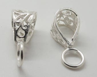 2 Pieces Pendant Bail Loop 925 Sterling Silver with Open Jump Ring 10x22mm