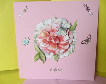 Card 3D (relief) pink flower and butterflies
