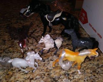 Plastic toy horses