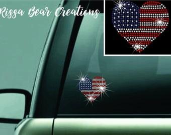 American flag heart rhinestone decal