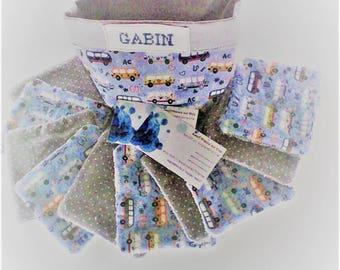 Lingettes  lavables et panier , lingettes par 10 ,tissu japonais , coton imprimé cars,tons bleus et gris,doublées d'éponge  toilette de bébé