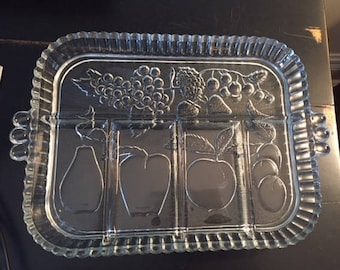 Indiana Glass Vintage Serving Tray, Fruit Tray, Appetizer Tray, Vintage Glass Tray, Wedding Shower Tray, Bridal Shower Tray