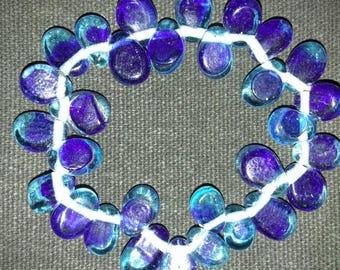 Tear Drop Glass Bead Elastic Bracelet