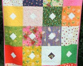 Sleeping Porch Squares Baby/Toddler Handmade Quilt