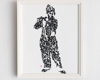one of a kind Handwriting Japanese Calligraphy Art Piece 'Le Joueur de fifre'
