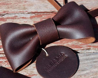 Bow tie and hand-made leather straps
