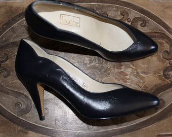 Pumps log P 36 1/2 Vintage 80s leather Blue Navy heels