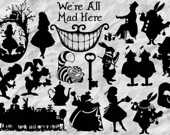19 Alice in Wonderland Silhouettes | Alice in Wonderland SVG cu files | Alice in Wonerland cliparts | digital files | vectors | printable