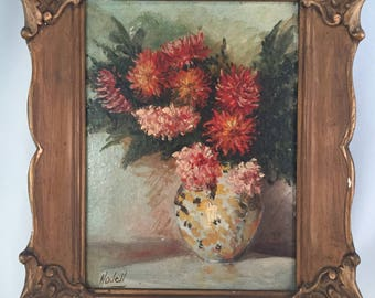"Antique  Floral Still Life Painting / Orignal Signed ""Modell"" Flower Art / Framed Oil Painting of Pink Flowers"