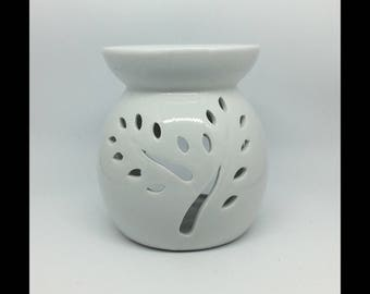 Classic White Ceramic Oil Burner with tree cut Design