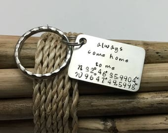 Anniversary Key Chain, Gift for Husband, Men's Personalized, GPSCoordinates, Travel Gift, Firefighter, Police, Gift for Anniversary