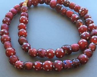 Venetian Red Skunk Vintage African Trade Beads (Approx. 50 beads)