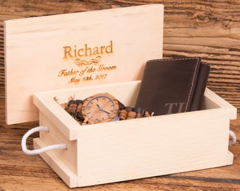 Tri Fold Wallet Monogrammed with Wood Watch Personalized, Gifts for Him, Gifts for Men, Fathers Day, Christmas, Unique Gifts, WS012&2417BR