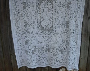 Vintage White Lace Rectangular Tablecloth, Shabby Chic, Cottage Chic,Heavyweight Cotton Lace Table Overlay
