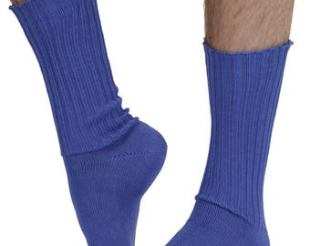 Fremont men's elastic free (soft topped) cotton dress socks in royal