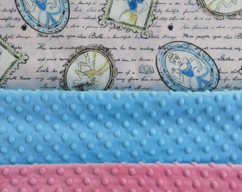Princess Pink Blue Yellow Minky Dot Weighted Blanket Custom Made to Order