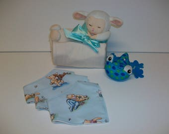 Homemade Set of 3 Dribble Bibs, Bandana Bibs, Blue, Boy, Newborn, Gift, Baby Shower, Winnie The Pooh