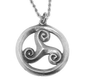 Pewter Celtic Triskele Triple Spiral Pendant Necklace with Chain