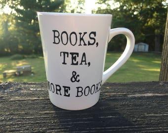 Books, tea, and more books mug